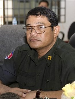 Cambodia's Gen. Ke Kim Yan, commander-in-chief of the Royal Cambodian Armed Forces, is seen on June 26, 2007, at Kampot province, about 130 kilometers (80. 6 miles) southwest of Phnom Penh, Cambodia. The head of Cambodia's armed forces has been dismissed from his post and replaced by a loyalist of Prime Minister Hun Sen. (AP Photo/Heng Sinith)
